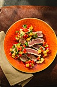 Flash-fried tuna fish with a fruity pepper salsa