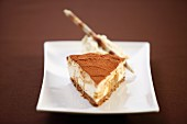 Caramel cheesecake with cocoa