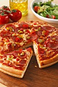 Peperoni and salami pizza