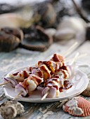 Fish kebabs with barbecue sauce