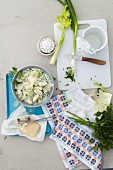 Gnocchi salad with herbs and Parmesan