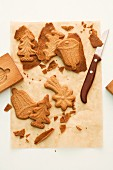 Spekulatius (German Christmas shortcrust biscuits) on baking paper with a wooden mould and a knife