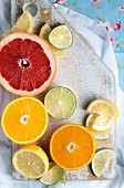 Citrus fruits on a wooden board