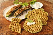 Home waffles with goat's cream cheese and stuffed courgettes