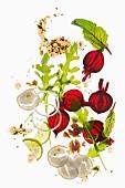 Zutaten für Carpaccio mit Rote Bete, Rettich, Rucola & Walnüssen