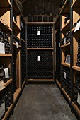 Bottles of wine maturing in a cellar