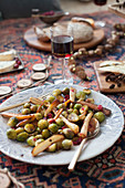 Warm roasted brussels sprout, parsnip and cranberry salad