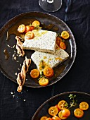 Poppyseed parfait with thyme kumquats