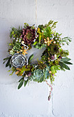 A decorative wreath of succulents