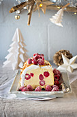 Raspberry and shortbread ice-cream log with toasted marshmallow