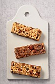 Three different muesli bars
