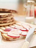 A slice of bread topped with sliced radishes