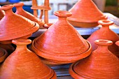 Tagines on a sales stand (Morocco, North Africa)