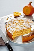 Pumpkin cake, sliced