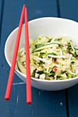 Thai vegetable salad with cucumber, Chinese cabbage, bean sprouts, chilli and coriander