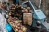Artichokes being sold on the streets of the historic old town in Naples (Italy)