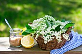 Ingredients for elderflower syrup: sugar, lemon and elderflowers