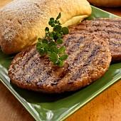 Burgers with ciabatta bread
