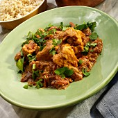 Indian chicken curry with rice