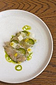 Kingfish, eel mousse, dill, oil and buttermilk from the restaurant Cutler & Co, Melbourne, Australia