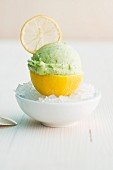 Lemon and basil ice cream served in a lemon skin