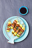 Tuna and mango skewers with teriyaki sauce