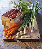 An arrangement of vegetables featuring carrots
