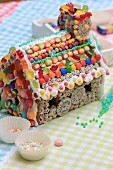 A colourfully decorated gingerbread house