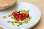 Pomegranate seeds and chopped pistachios
