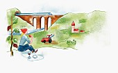 A woman having a picnic in the countryside with a view of a farmer in his tractor and a viaduct (illustration)