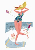 A woman on a beach holding onto her hat in the wind (illustration)