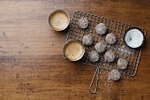 Chocolate nut truffles with coconut