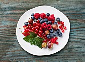 Fresh berries on a white plate