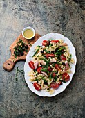 Pasta mit grünen Bohnen und Forellenfilet