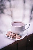 A cup of hot tea with biscuits on a saucer on a snow-covered balcony