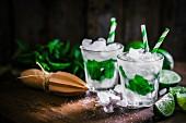 Mojitos mit Eiswürfeln, Minze und Limetten