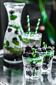 Water with blackberries, ice cubes and mint