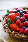 Fresh berries in a wicker basket