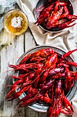 Cooked lobster and crayfish with beer