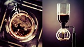Coffee and a coffee siphon (collage)