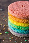 Colourful sponge cake layers