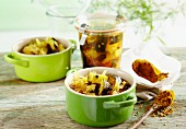 Pickled curried courgettes