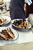 Mussel dishes for a wedding party by the sea