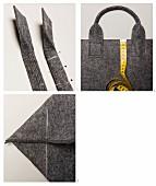 Grosse Tasche aus grauem Wollfilz nähen