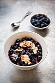 Blueberry porridge with almond milk