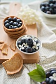 Shortcrust pastry with blueberries and a bowl of blueberries and hydrangea flowers