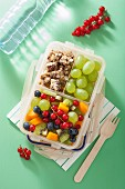 Lunch box with fruit salad and nut bars