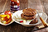 Buffalo burgers with spicy potato wedges