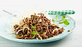 Fried minced beef and onion salad