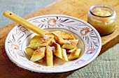 Kopytka (Polish potato dumplings) with apple sauce